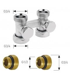 Robinet Herz 3000 cu ventil (Purmo) - drept, Rp1/2, 50 mm, bitubular - 1376622